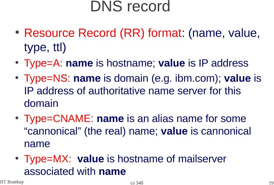 com); value is IP address of authoritative name server for this domain Type=CNAME: name is an
