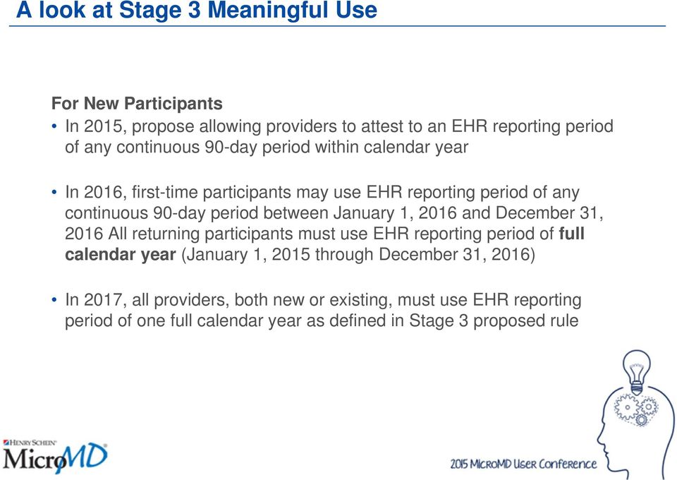 1, 2016 and December 31, 2016 All returning participants must use EHR reporting period of full calendar year (January 1, 2015 through December