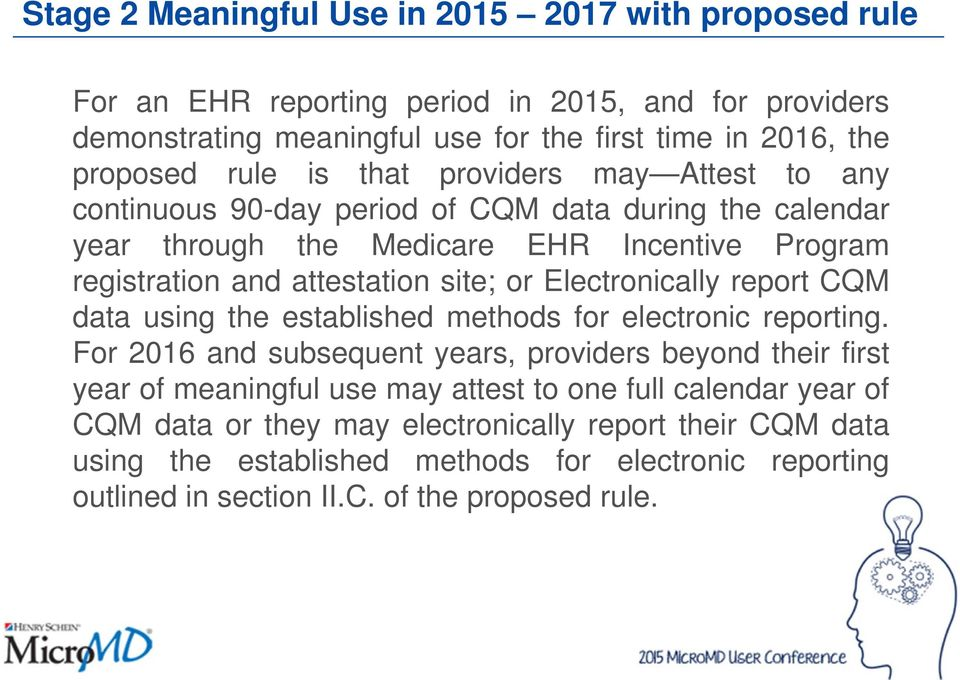 Electronically report CQM data using the established methods for electronic reporting.