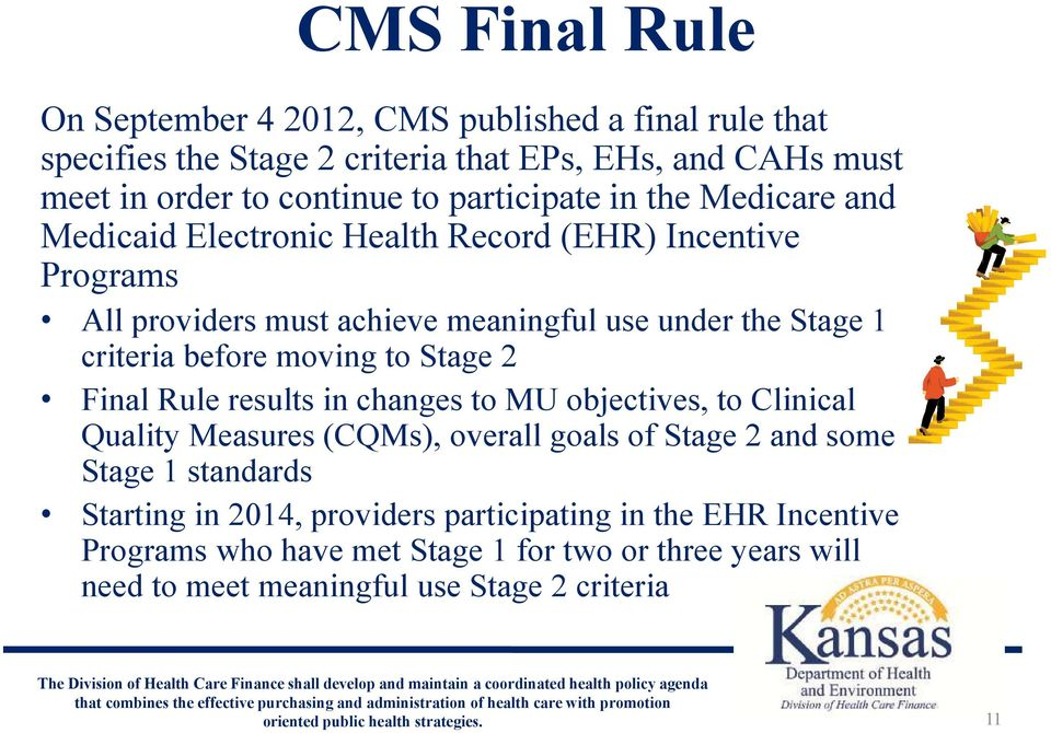 before moving to Stage 2 Final Rule results in changes to MU objectives, to Clinical Quality Measures (CQMs), overall goals of Stage 2 and some Stage 1 standards