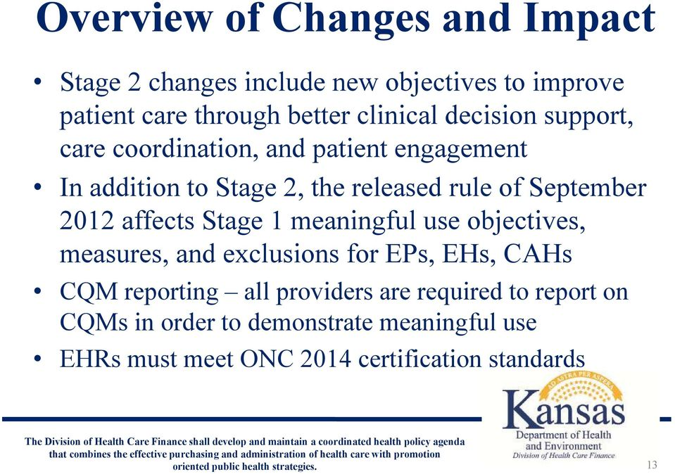 2012 affects Stage 1 meaningful use objectives, measures, and exclusions for EPs, EHs, CAHs CQM reporting all