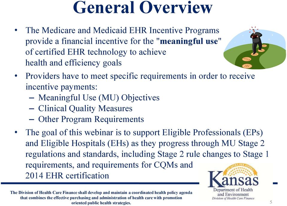 Clinical Quality Measures Other Program Requirements The goal of this webinar is to support Eligible Professionals (EPs) and Eligible Hospitals (EHs) as