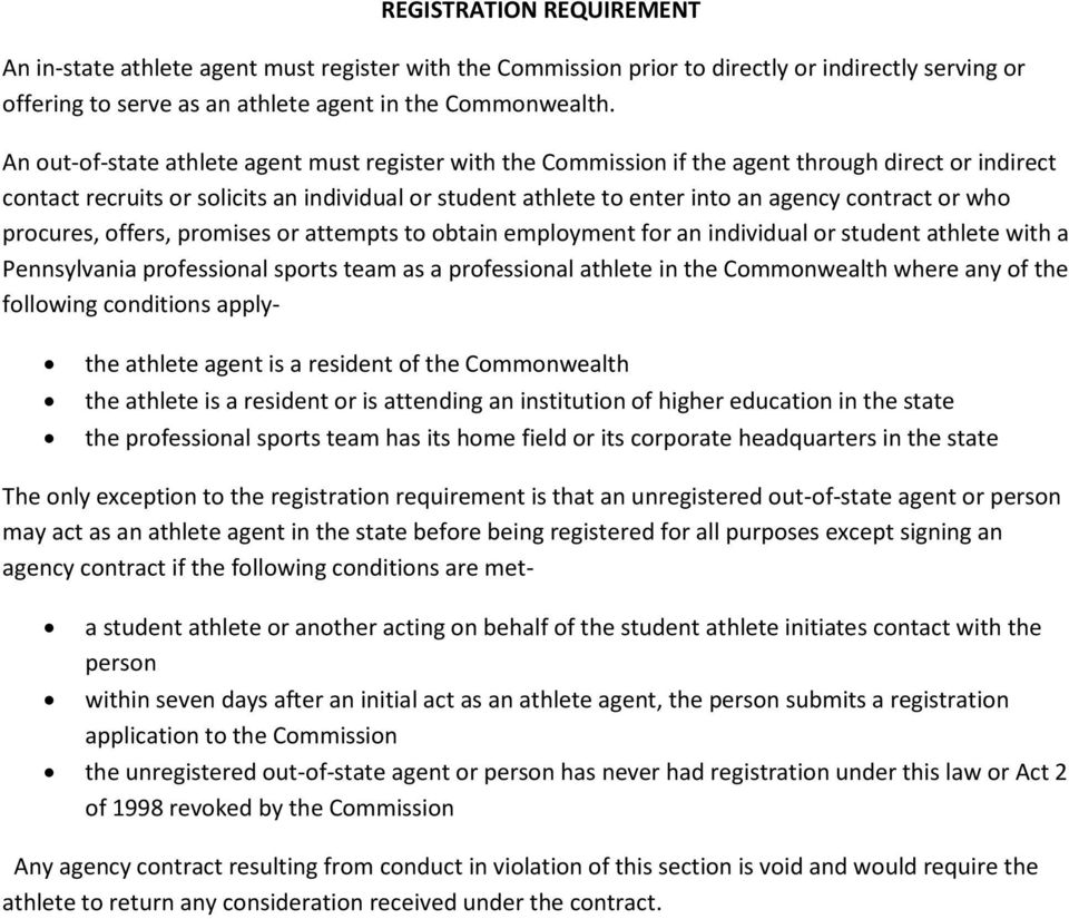 or who procures, offers, promises or attempts to obtain employment for an individual or student athlete with a Pennsylvania professional sports team as a professional athlete in the Commonwealth
