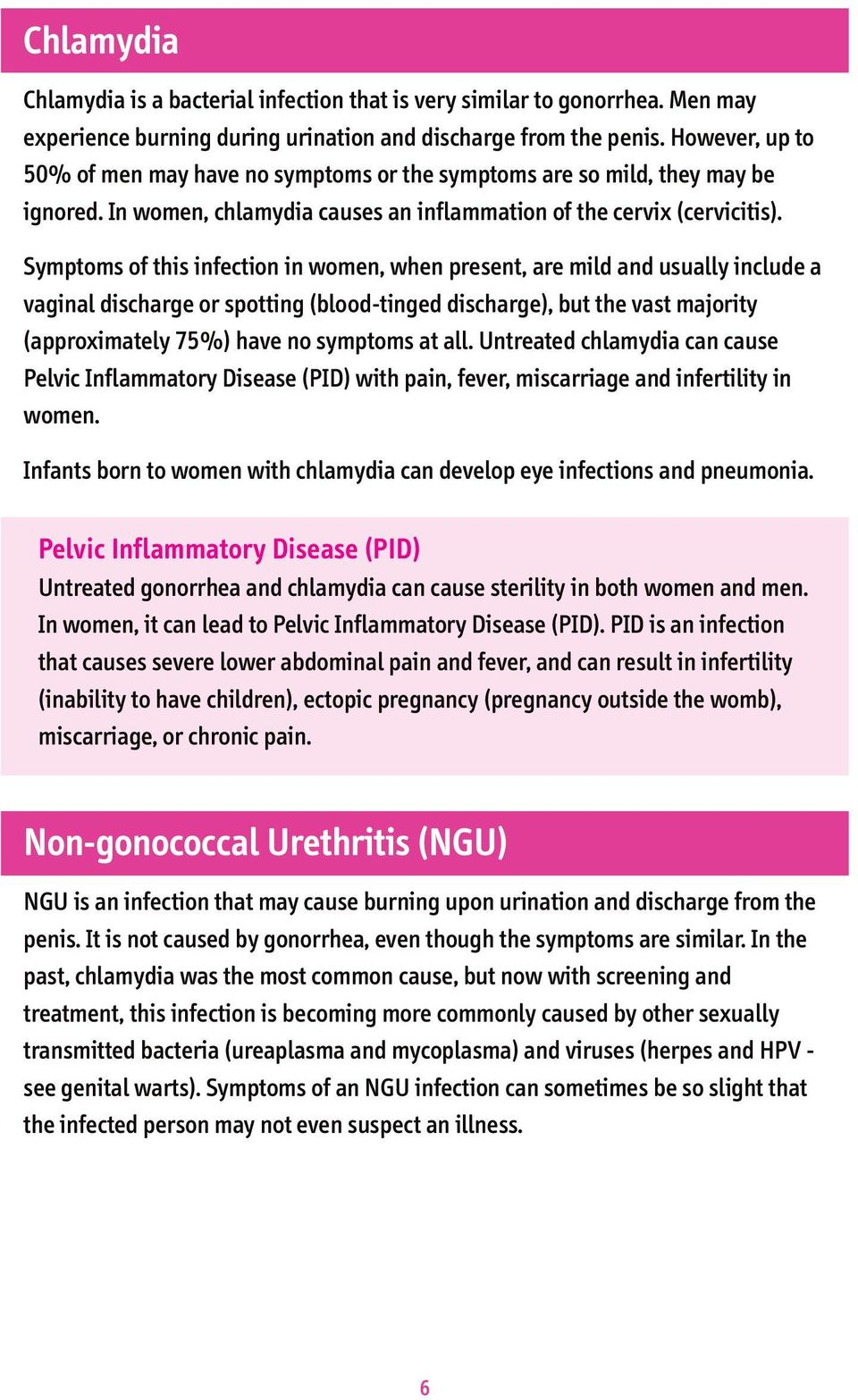 Symptoms of this infection in women, when present, are mild and usually include a vaginal discharge or spotting (blood-tinged discharge), but the vast majority (approximately 75%) have no symptoms at