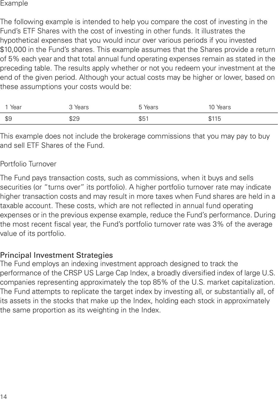 This example assumes that the Shares provide a return of 5% each year and that total annual fund operating expenses remain as stated in the preceding table.