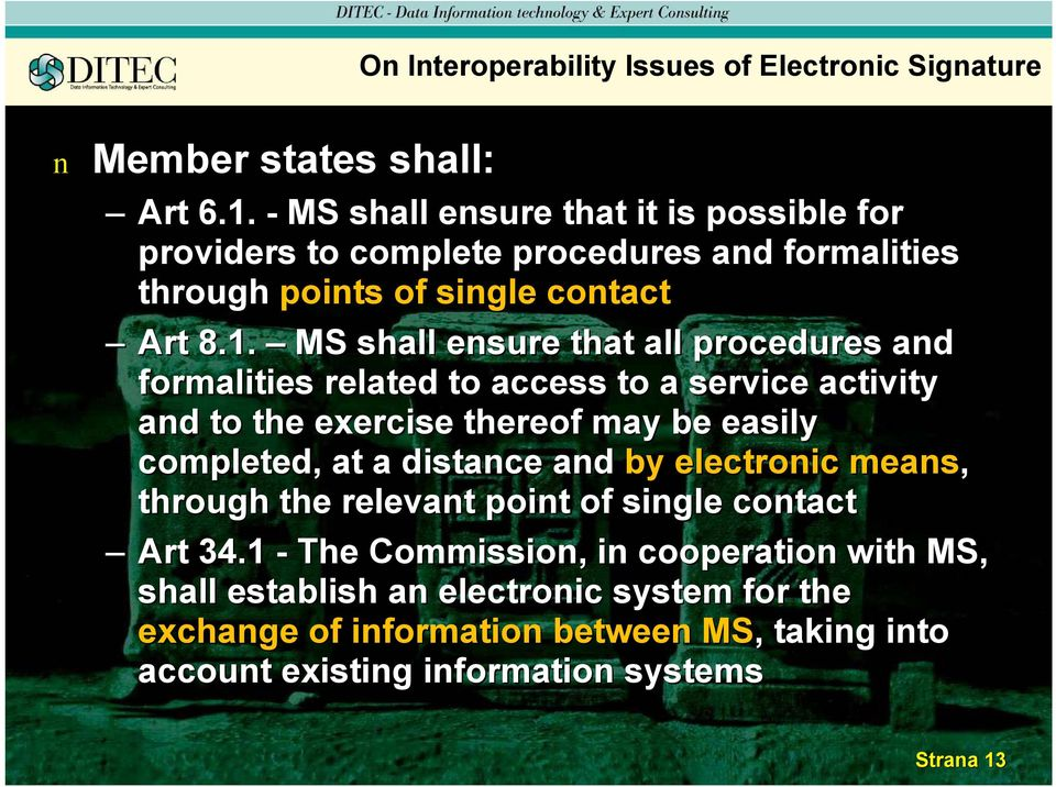MS shall esure that all procedures ad formalities related ed to access to a service activity ad to the exercise thereof may be easily completed, at a