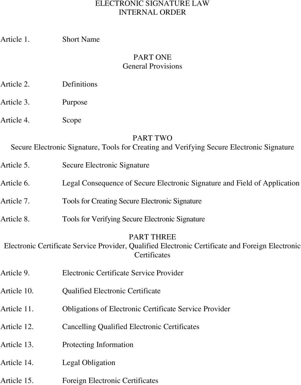Secure Electronic Signature Legal Consequence of Secure Electronic Signature and Field of Application Tools for Creating Secure Electronic Signature Tools for Verifying Secure Electronic Signature