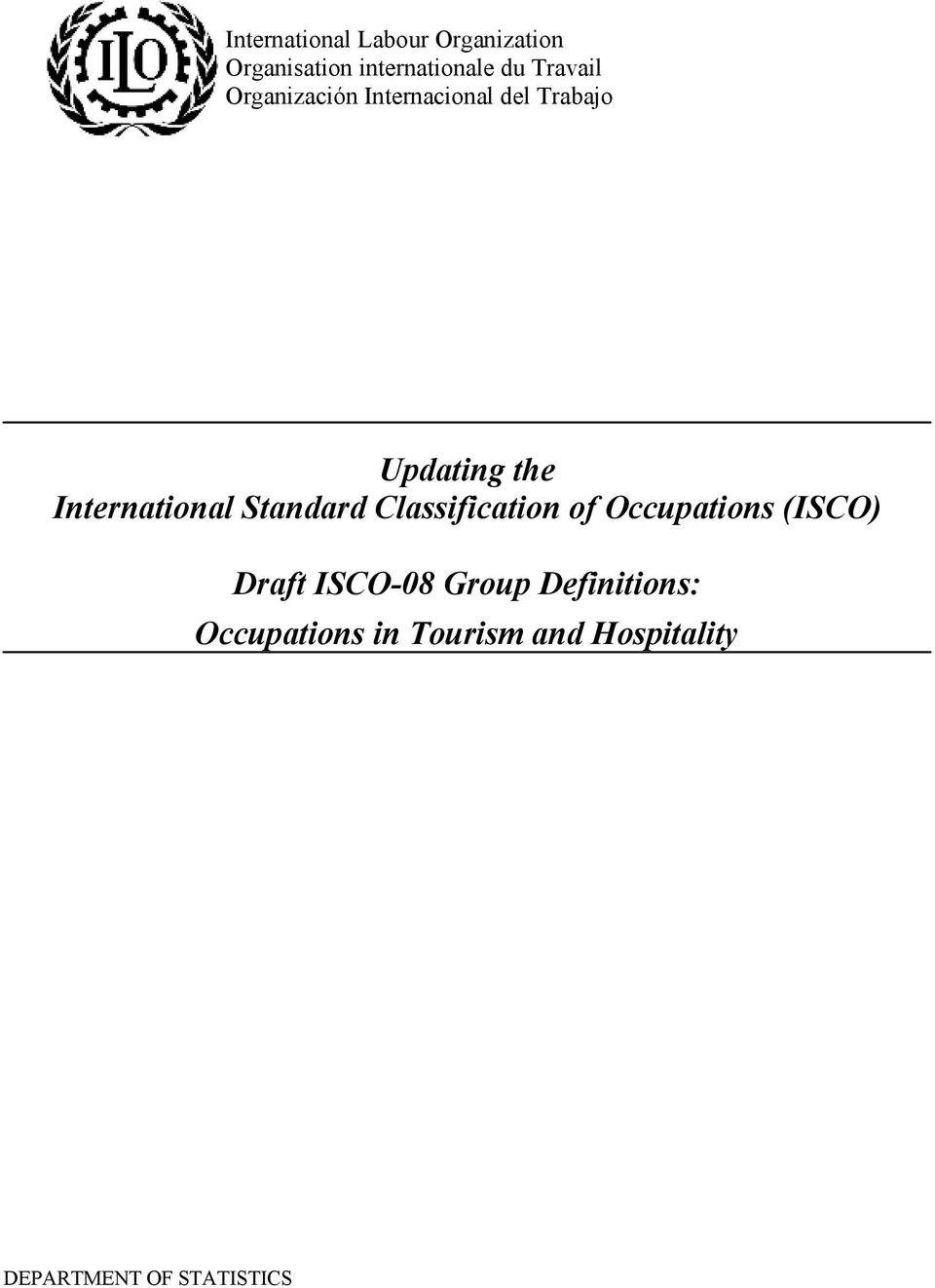 International Standard Classification of Occupations (ISCO) Draft