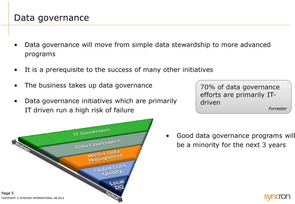 governance initiatives which are primarily IT driven run a high risk of failure 70% of data governance
