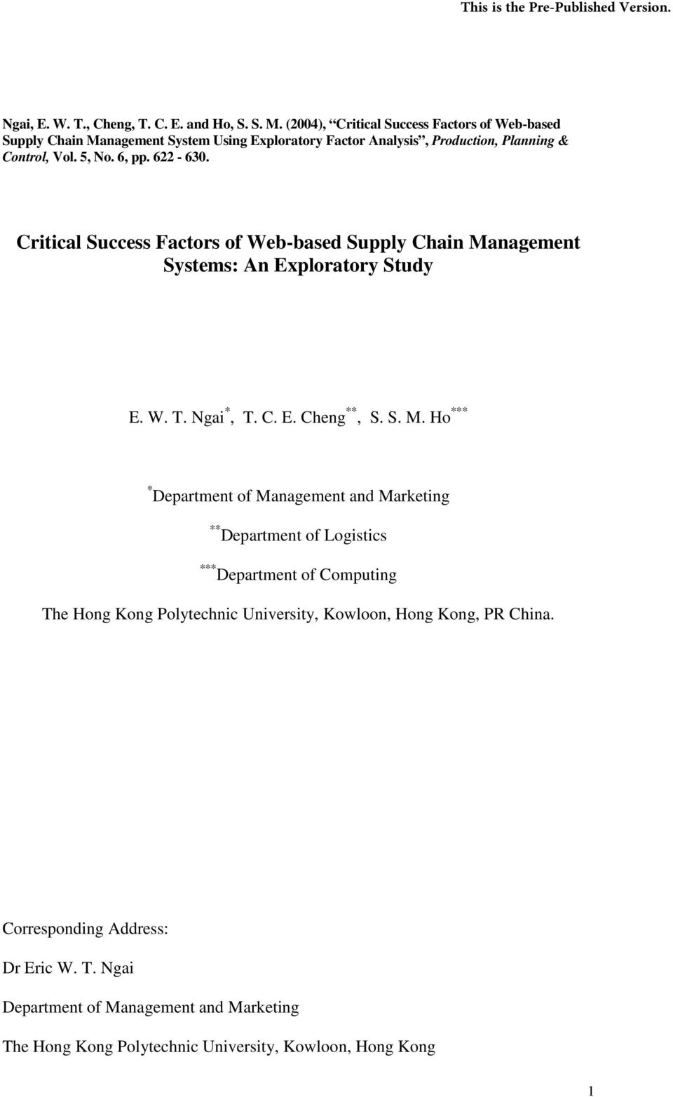 Critical Success Factors of Web-based Supply Chain Ma