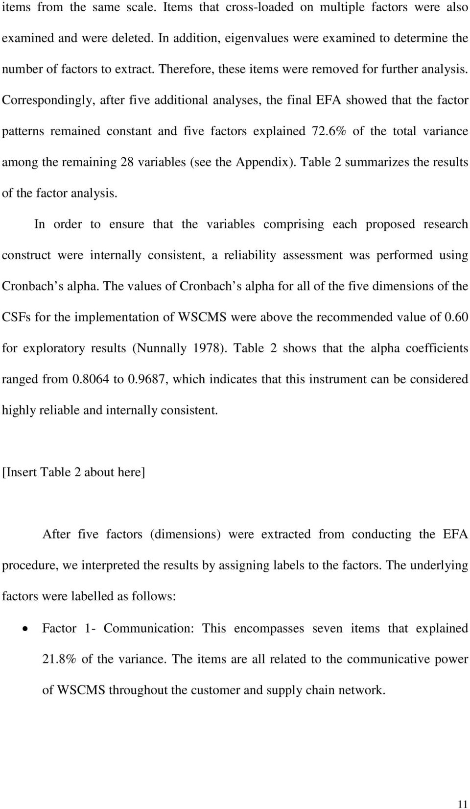 Correspondingly, after five additional analyses, the final EFA showed that the factor patterns remained constant and five factors explained 72.