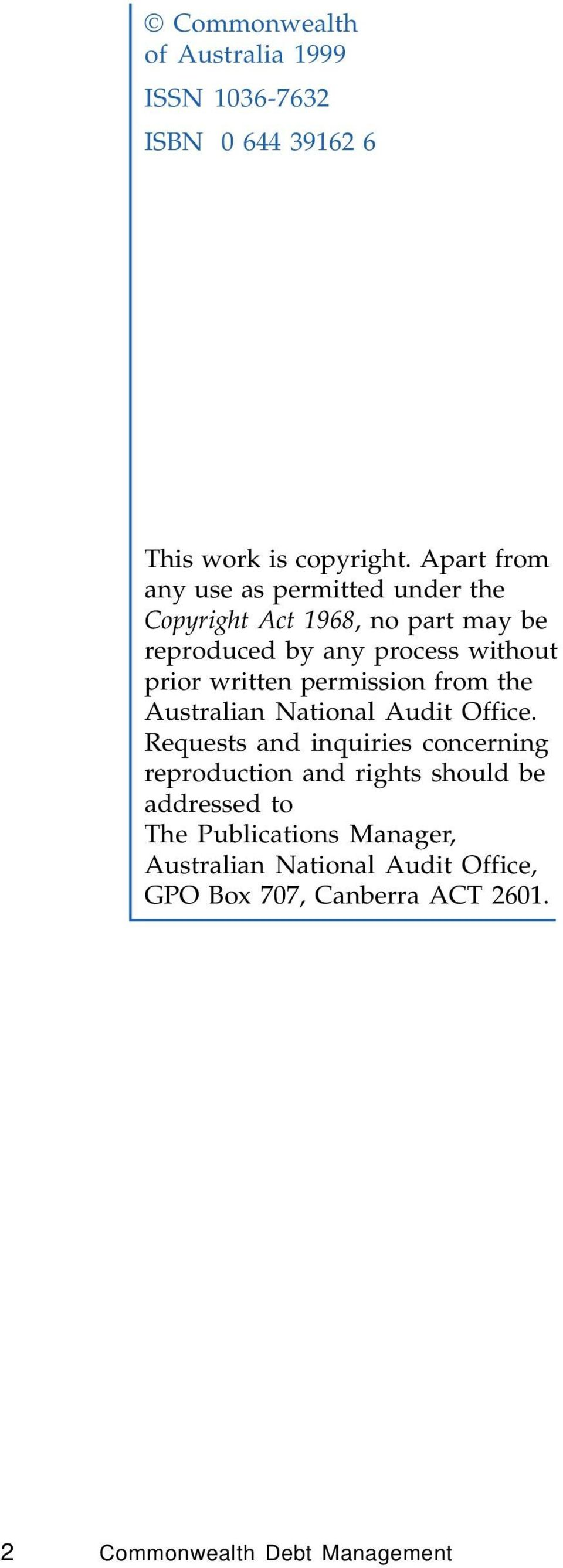 written permission from the Australian National Audit Office.