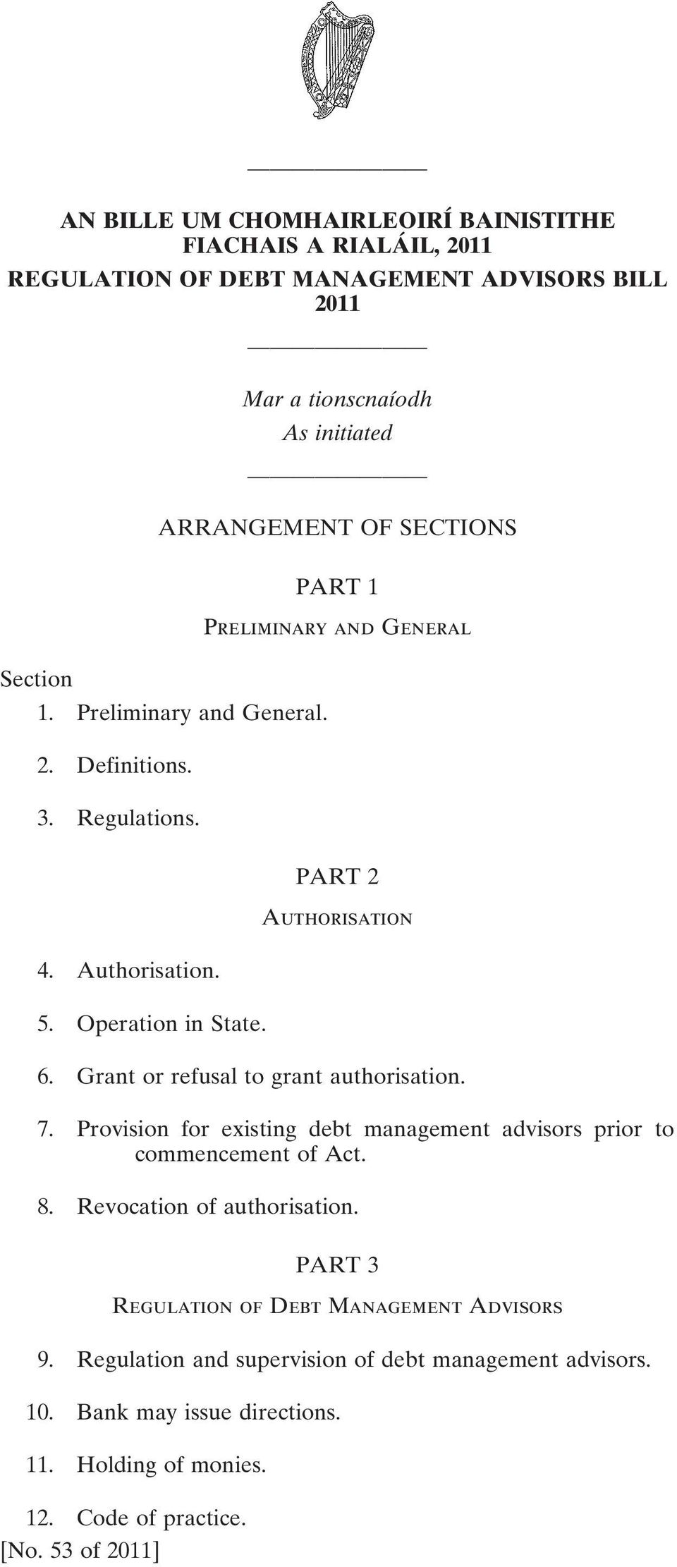 Grant or refusal to grant authorisation. 7. Provision for existing debt management advisors prior to commencement of Act. 8. Revocation of authorisation.