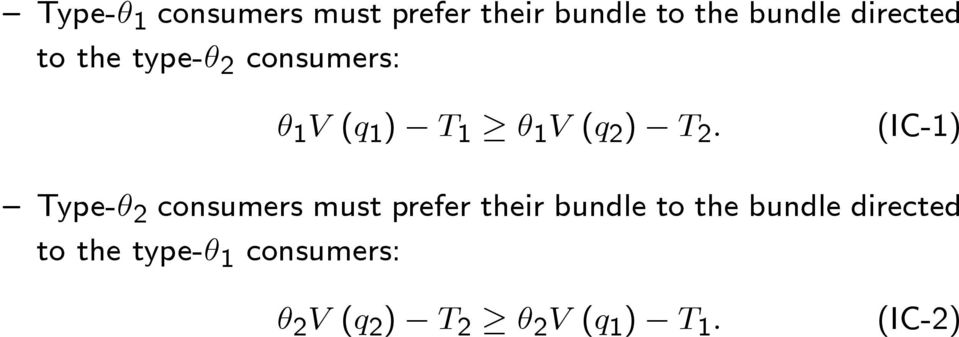 (IC-1) Type-θ 2 consumers must prefer their bundle to the bundle