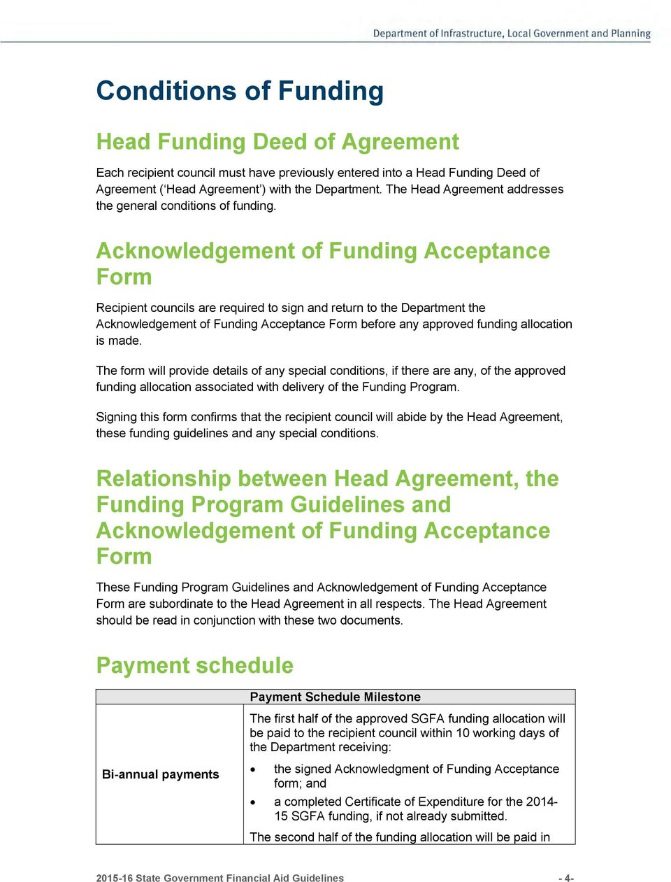 Acknowledgement of Funding Acceptance Form Recipient councils are required to sign and return to the Department the Acknowledgement of Funding Acceptance Form before any approved funding allocation