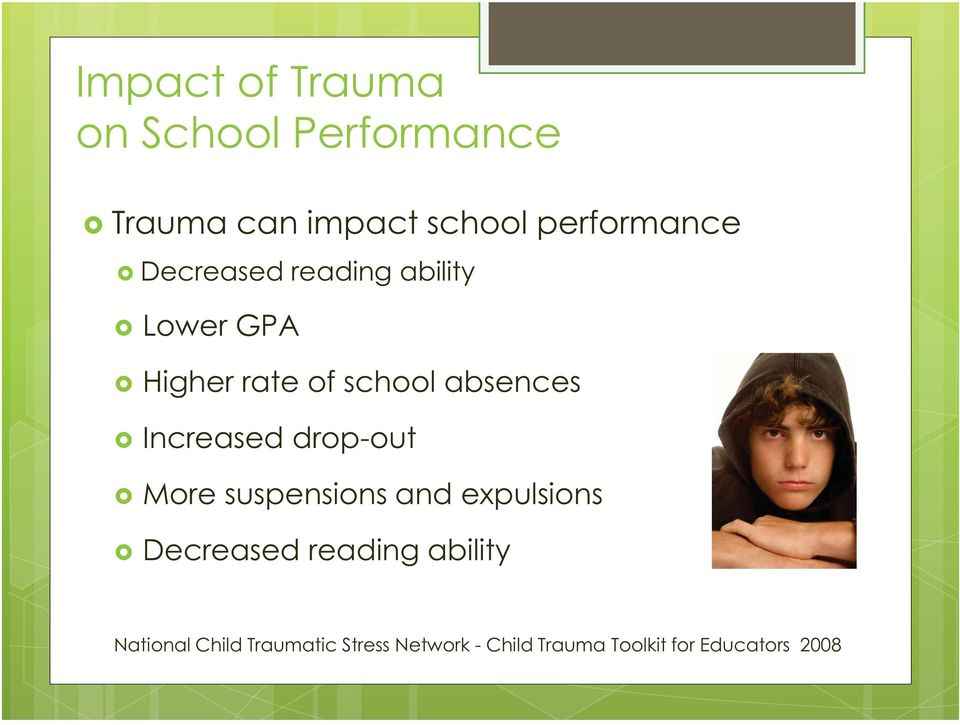 Increased drop-out More suspensions and expulsions Decreased reading