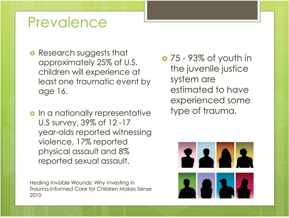 S survey, 39% of 12-17 year-olds reported witnessing violence, 17% reported physical assault and 8% reported sexual
