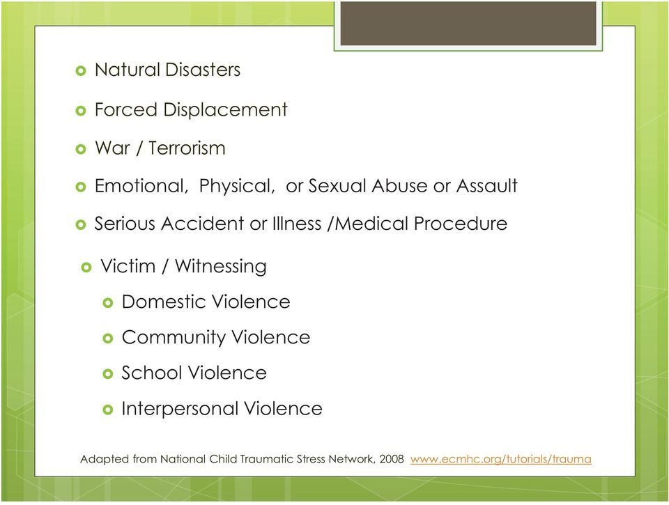 Witnessing Domestic Violence Community Violence School Violence Interpersonal