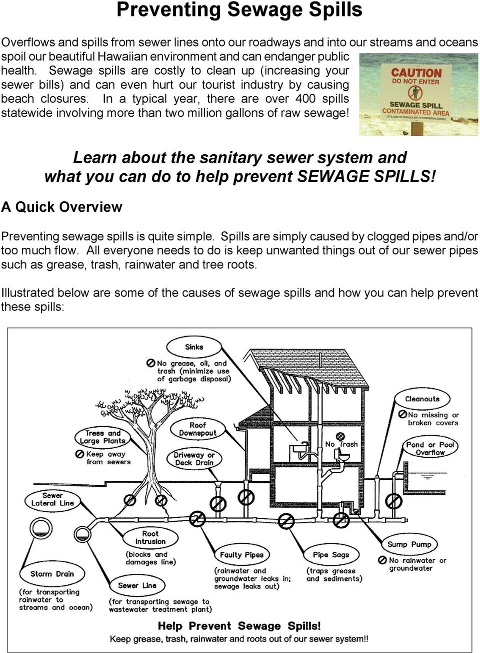 In a typical year, there are over 400 spills statewide involving more than two million gallons of raw sewage! Learn about the sanitary sewer system and what you can do to help prevent SEWAGE SPILLS!