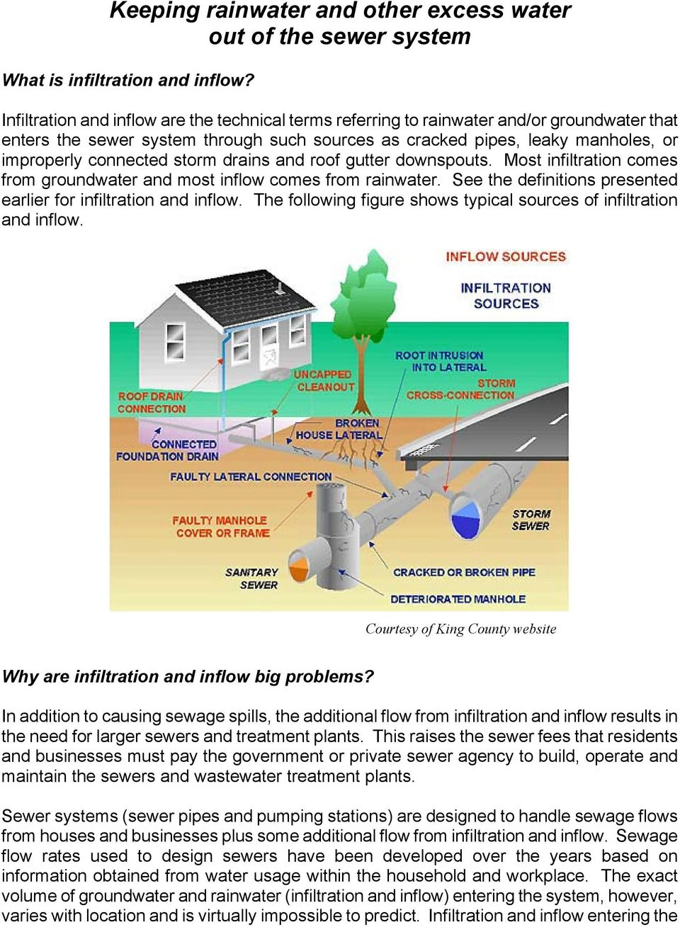 storm drains and roof gutter downspouts. Most infiltration comes from groundwater and most inflow comes from rainwater. See the definitions presented earlier for infiltration and inflow.