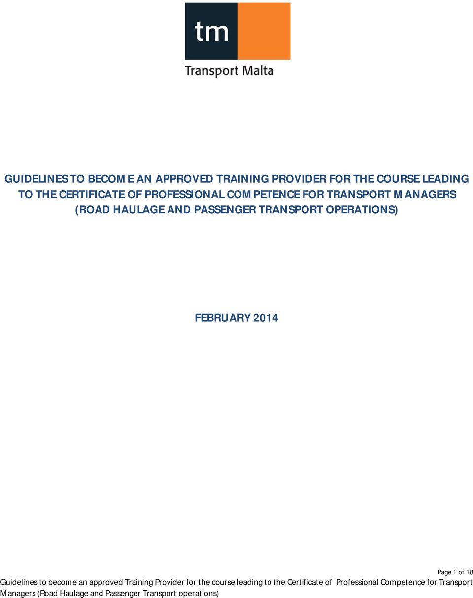 COMPETENCE FOR TRANSPORT MANAGERS (ROAD HAULAGE AND