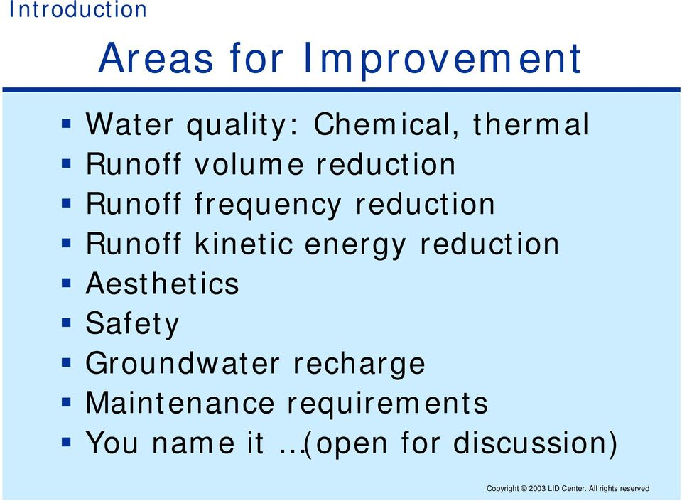 kinetic energy reduction Aesthetics Safety Groundwater