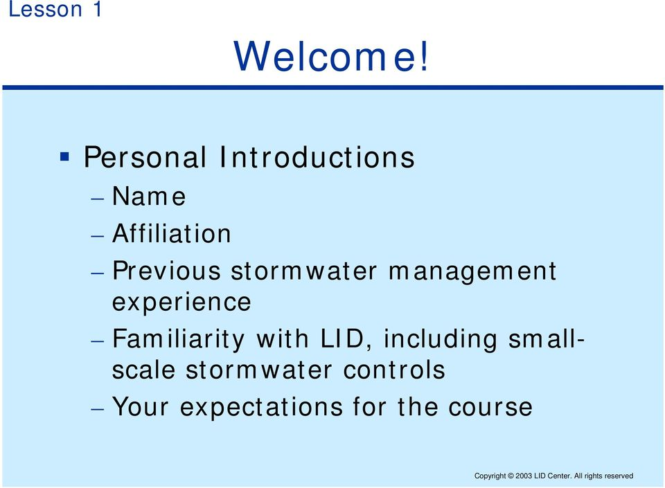 stormwater management experience Familiarity