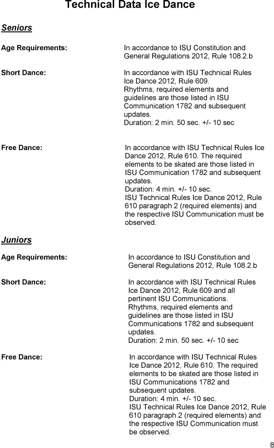 +/- 10 sec Free Dance: In accordance with ISU Technical Rules Ice Dance 2012, Rule 610. The required elements to be skated are those listed in ISU Communication 1782 and subsequent updates.