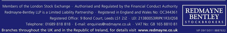 Registered in England and Wales No: OC344361 Registered Office: 9 Bond Court, Leeds LS1 2JZ.