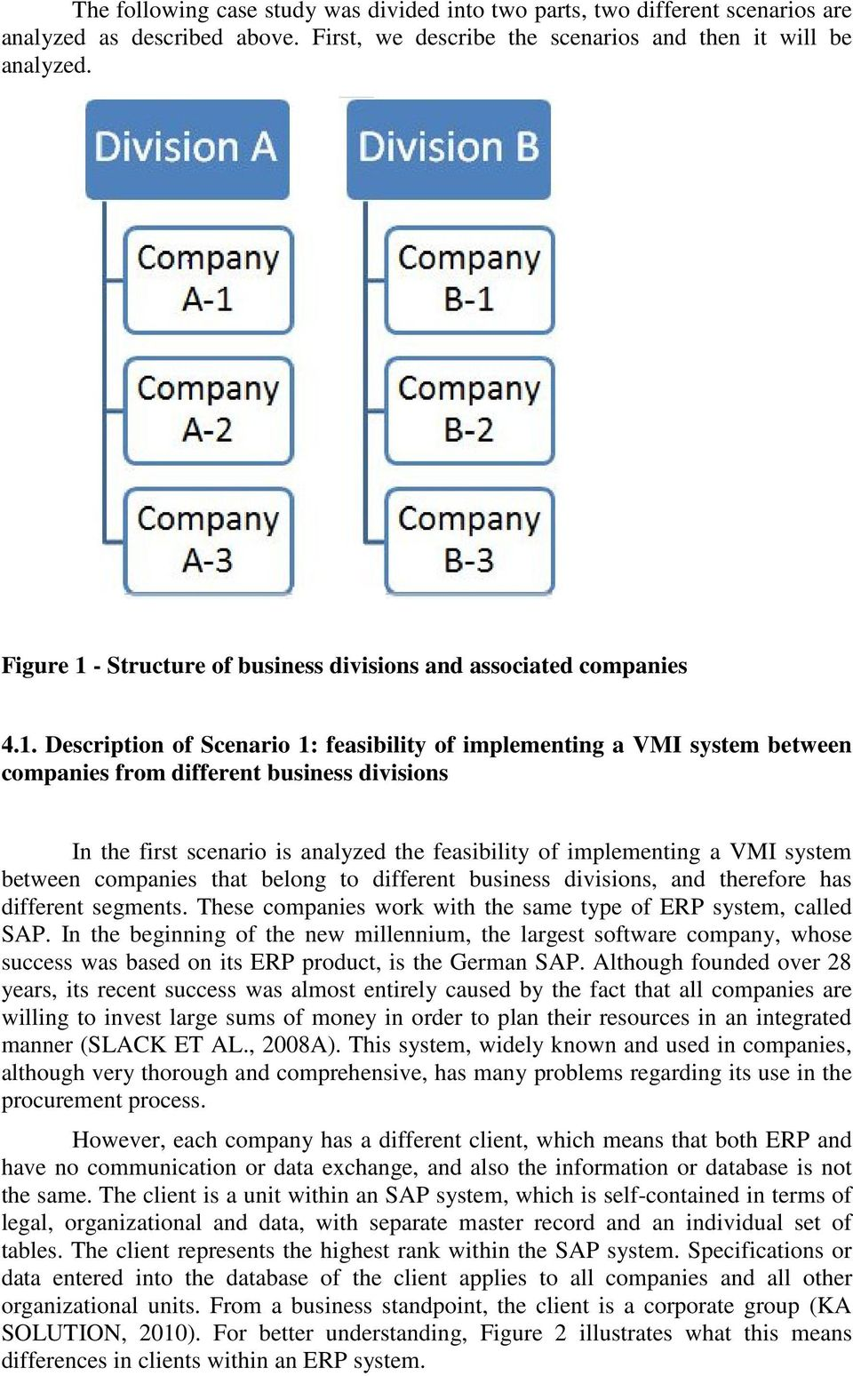- Structure of business divisions and associated companies 4.1.