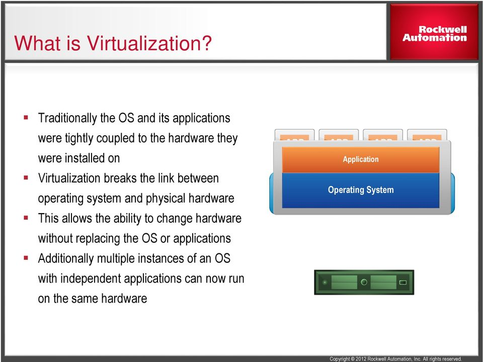Virtualization breaks the link between operating system and physical hardware This allows the ability to