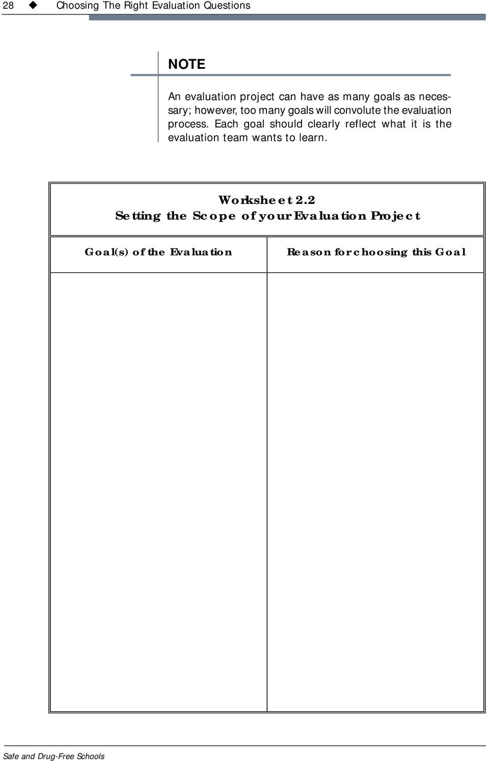 Each goal should clearly reflect what it is the evaluation team wants to learn. Worksheet 2.