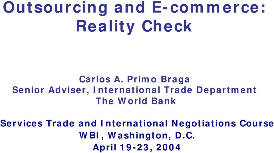 Department The World Bank Services Trade and