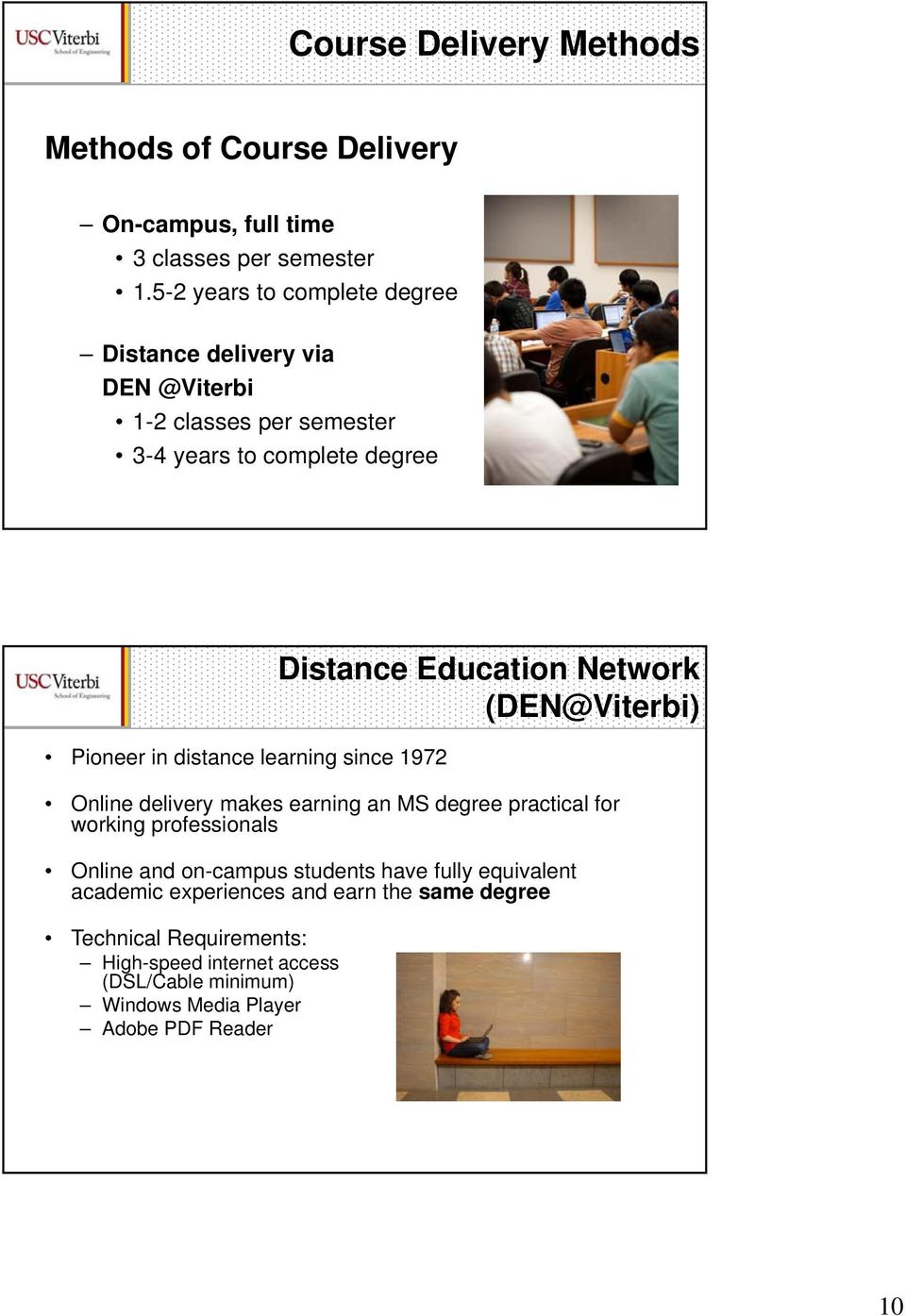 learning since 1972 Distance Education Network (DEN@Viterbi) Online delivery makes earning an MS degree practical for working professionals