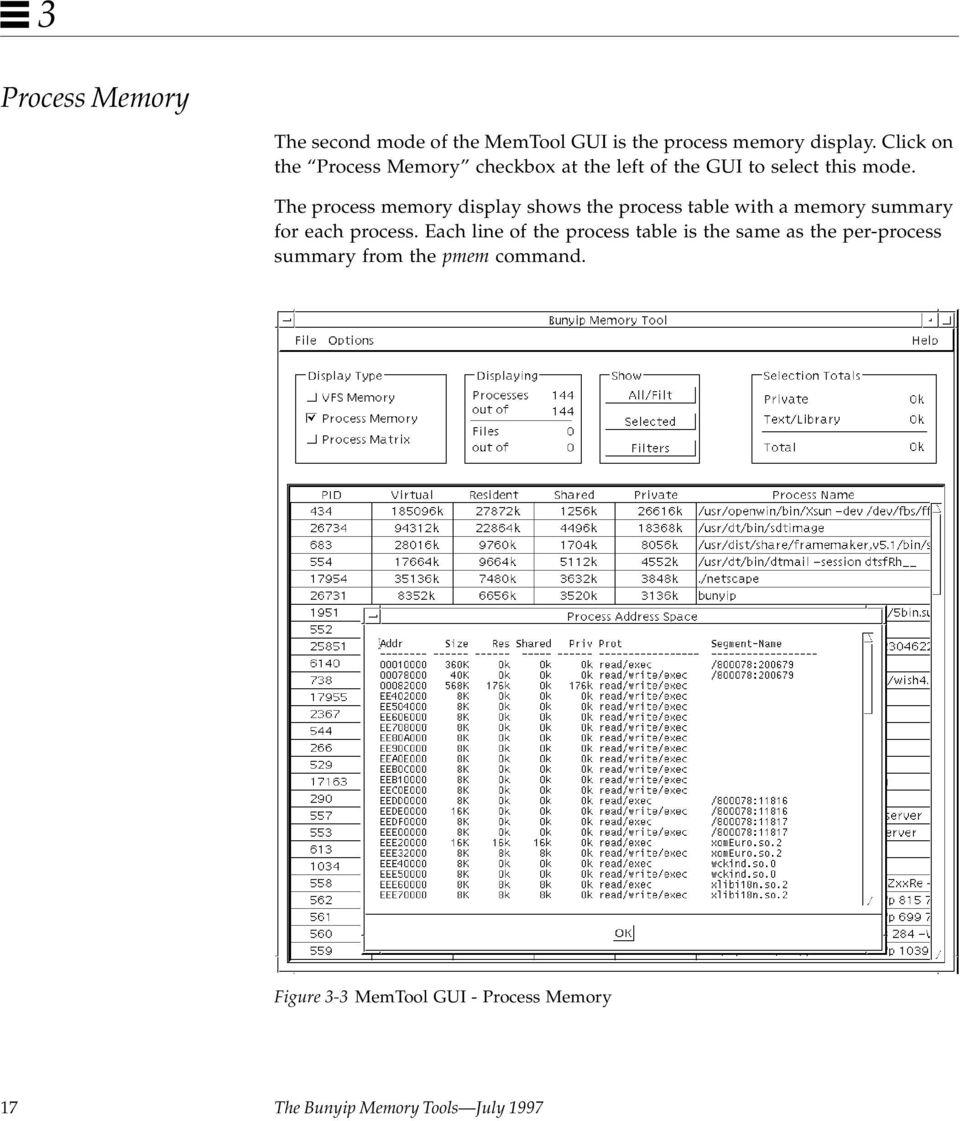The process memory display shows the process table with a memory summary for each process.