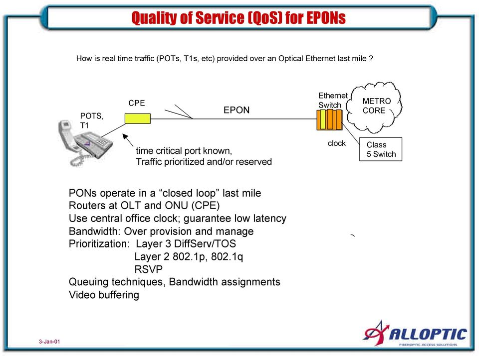PONs operate in a closed loop last mile Routers at OLT and ONU (CPE) Use central office clock; guarantee low latency Bandwidth: