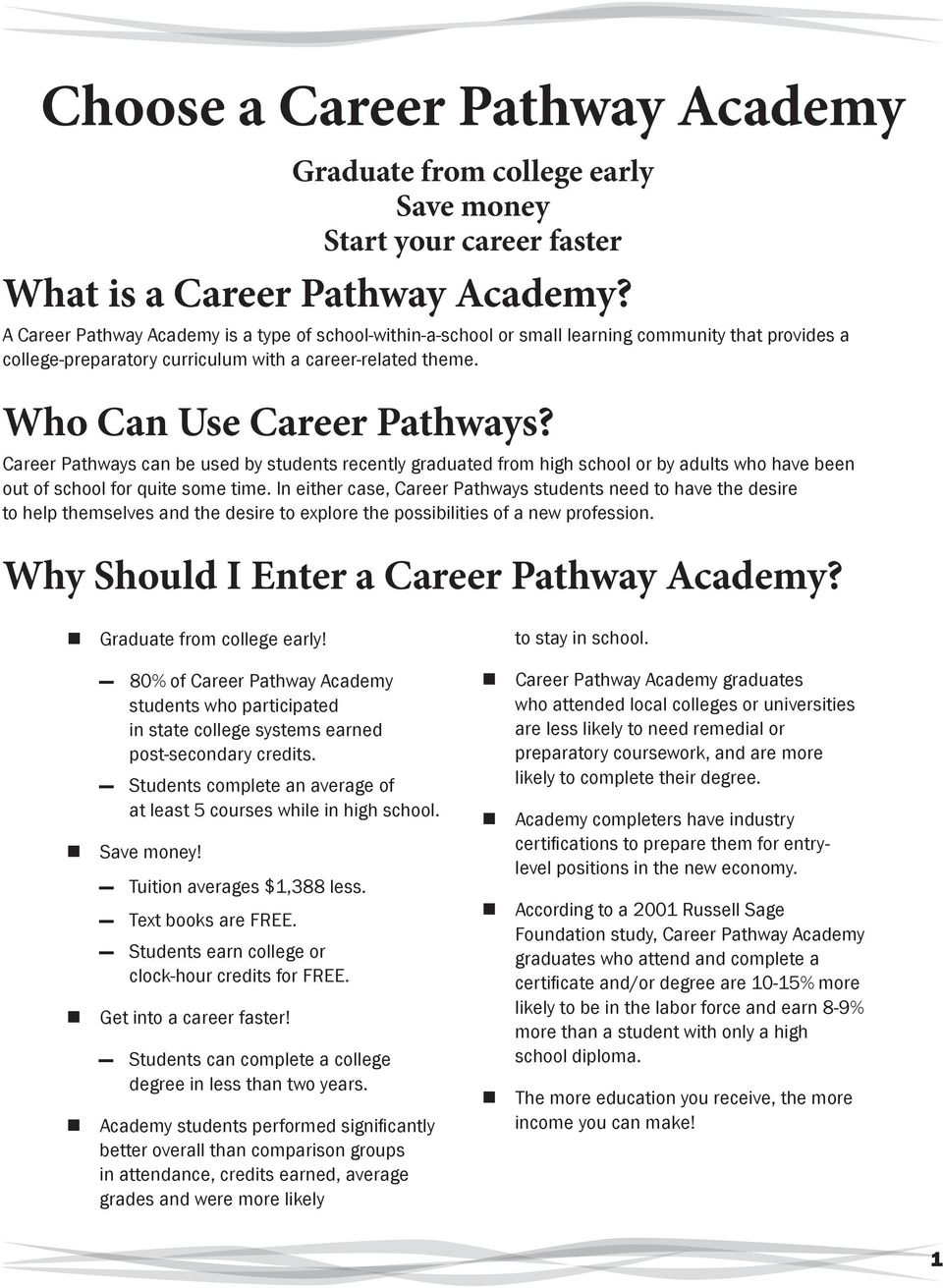 Career Pathways can be used by students recently graduated from high school or by adults who have been out of school for quite some time.