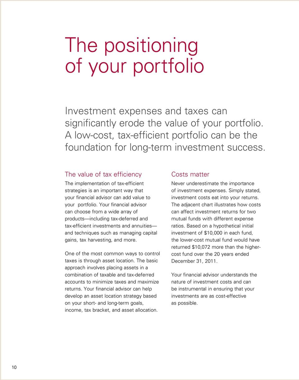 The value of tax efficiency The implementation of tax-efficient strategies is an important way that your financial advisor can add value to your portfolio.