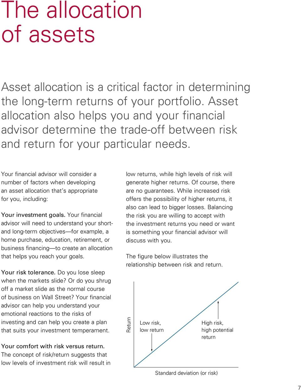 Your financial advisor will consider a number of factors when developing an asset allocation that s appropriate for you, including: Your investment goals.