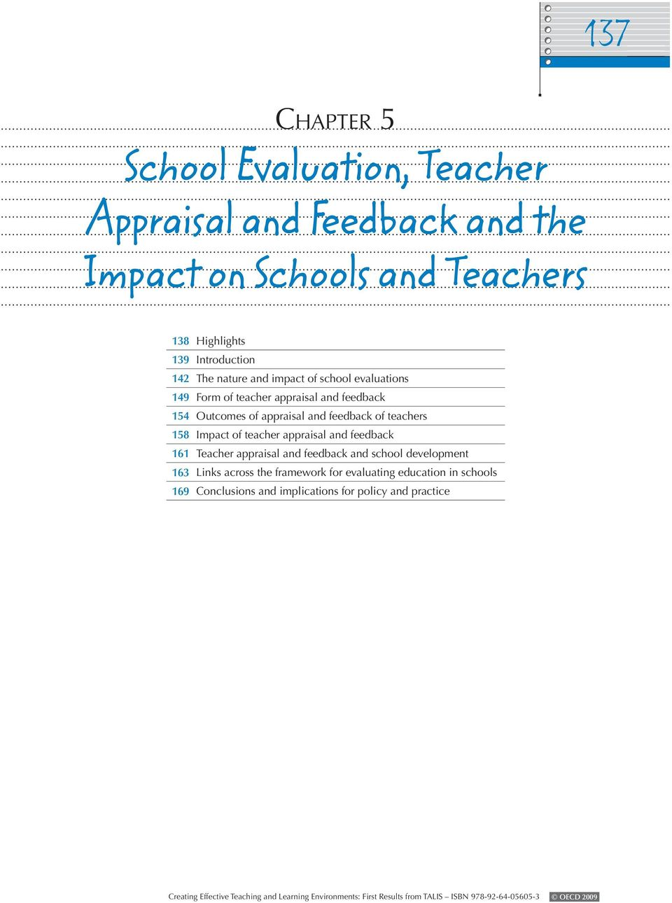 appraisal and feedback of teachers 158 Impact of teacher appraisal and feedback 161 Teacher appraisal and feedback and school