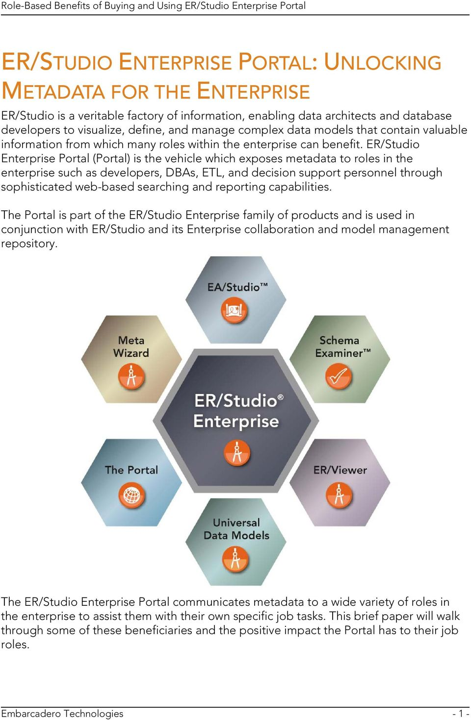 ER/Studio Enterprise Portal (Portal) is the vehicle which exposes metadata to roles in the enterprise such as developers, DBAs, ETL, and decision support personnel through sophisticated web-based