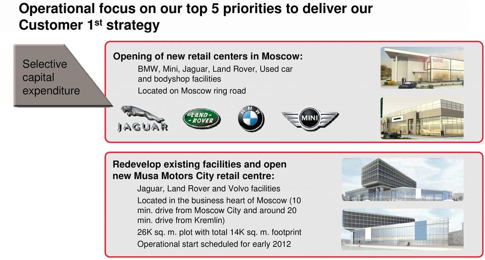 open new Musa Motors City retail centre: Jaguar, Land Rover and Volvo facilities Located in the business heart of Moscow (10 min.