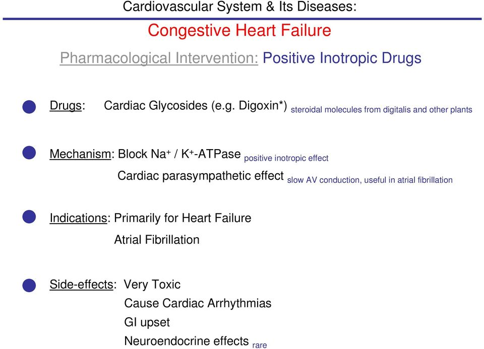 Drugs: Cardiac Glycosides (e.g. Digoxin*) steroidal molecules from digitalis and other plants Mechanism: