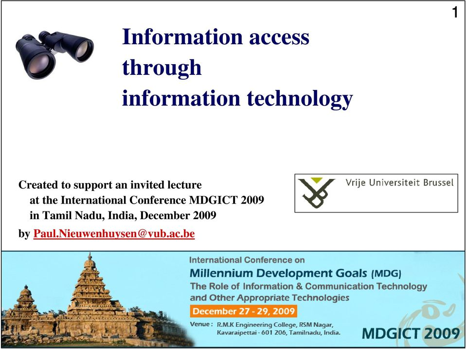 International Conference MDGICT 2009 in Tamil