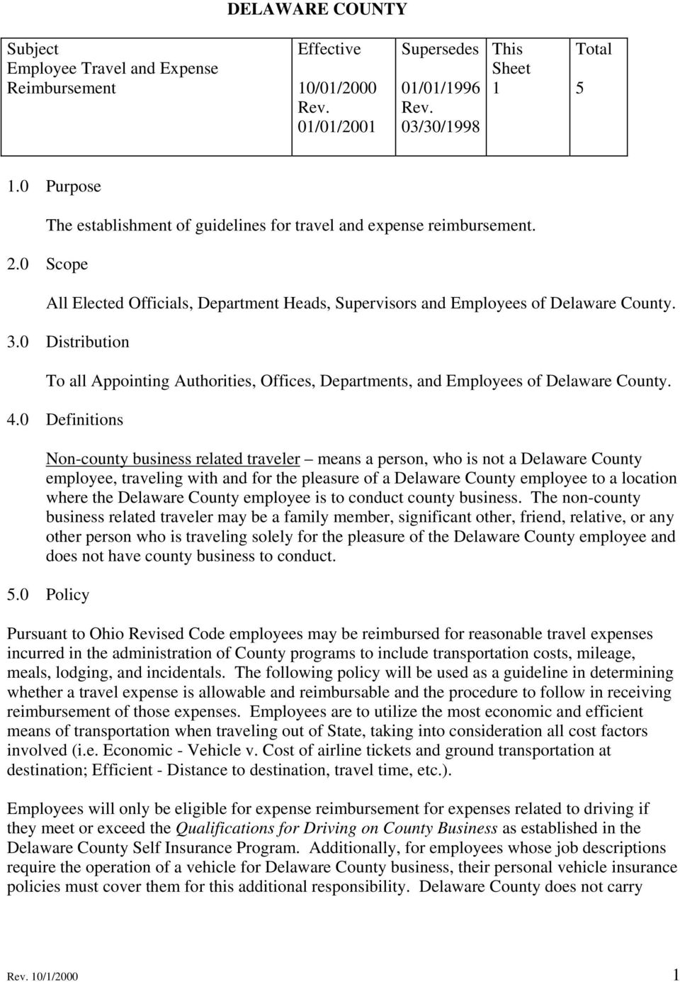 0 Distribution To all Appointing Authorities, Offices, Departments, and Employees of Delaware County. 4.
