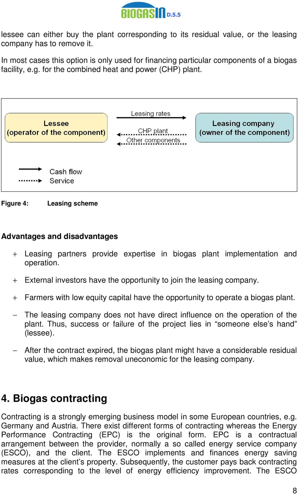 Figure 4: Leasing scheme Advantages and disadvantages + Leasing partners provide expertise in biogas plant implementation and operation.