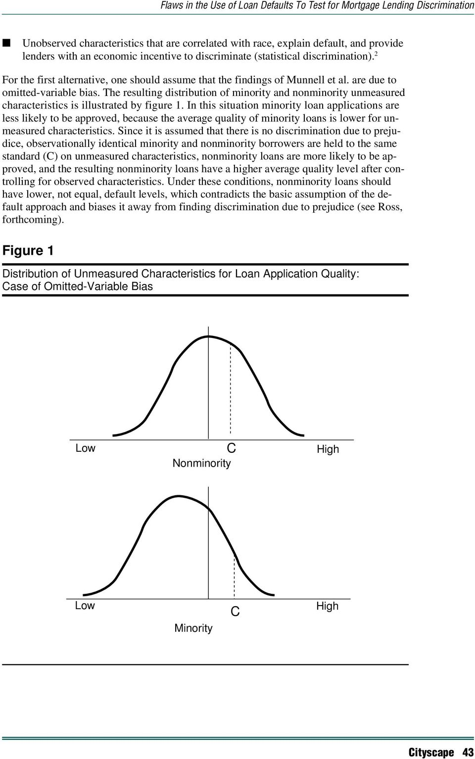 The resulting distribution of minority and nonminority unmeasured characteristics is illustrated by figure 1.
