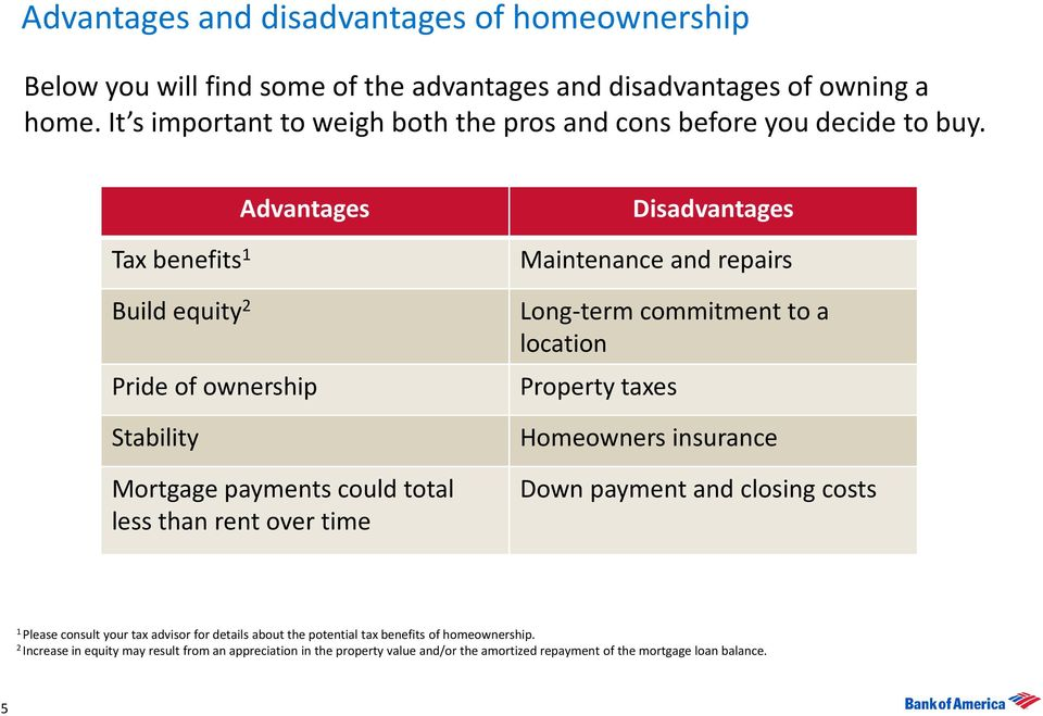 Tax benefits 1 Build equity 2 Advantages Pride of ownership Stability Mortgage payments could total less than rent over time Disadvantages Maintenance and repairs Long-term