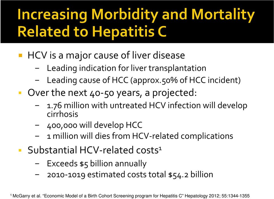 76 million with untreated HCV infection will develop cirrhosis 400,000 will develop HCC 1 million will dies from HCV-related