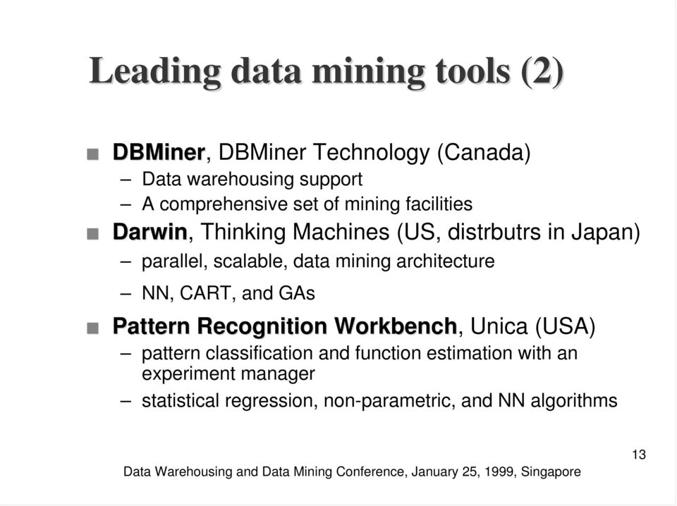 scalable, data mining architecture NN, CART, and GAs Pattern Recognition Workbench, Unica (USA) pattern